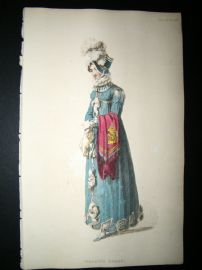 Ackermann 1815 Hand Col Regency Fashion Print. Walking Dress 14-34